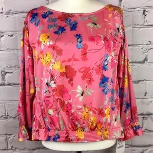 NWT Zara Pink Multi Floral Print Blouse Sz Med.